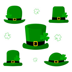 St.Patrick s Day. Set of five different green caps leprechaun with clover. Cartoon style, flat design. Vector illustration