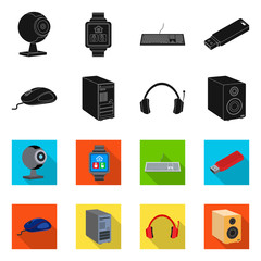 Vector design of laptop and device icon. Set of laptop and server vector icon for stock.