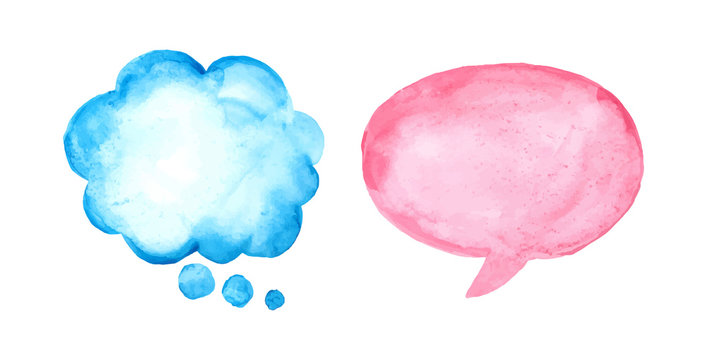 Set of watercolor speech bubbles. Colorful, water color, empty pink and blue bubbles vector illustration.