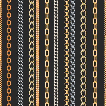 Gold and silver Chain Jewelry seamless pattern.