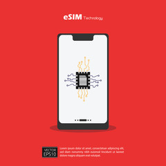 eSIM Embedded SIM card network symbol concept. SIM concept with new mobile communication technology. Red background.