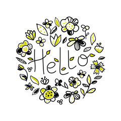 Spring background with flowers and lettering. Hello design. Floral hand drawn vector illustration in doodle style
