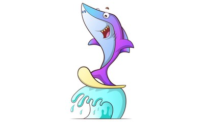 Vector cartoon illustration of cute shark on wave slider. Isolated on white background.