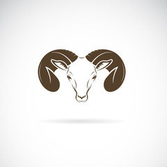 Vector of ram head or mountain sheep design on white background., goat Icon., Wild Animals. Easy editable layered vector illustration.