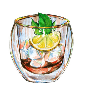 Ice tea with mint branch and lemon isolated on white, hand drawn watercolor