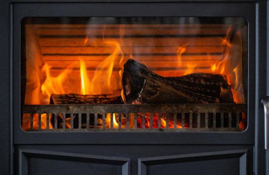 black metal antique fireplace