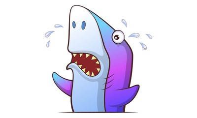 Vector cartoon illustration of cute shark crying,. Isolated on white background.