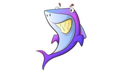 Vector cartoon illustration of cute shark. Isolated on white background.