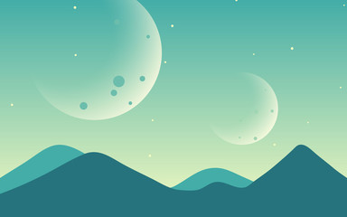 Green space background. with planets and light stars.