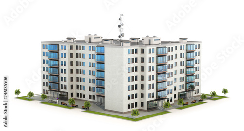 Condominium or modern residential building  Real estate