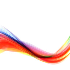 Abstract bright wave isolated on white background. Vector illustration for curl motion design. Colorful energy smoke horizontal layout banner. Cool curl wave header element. Modern bright colors.