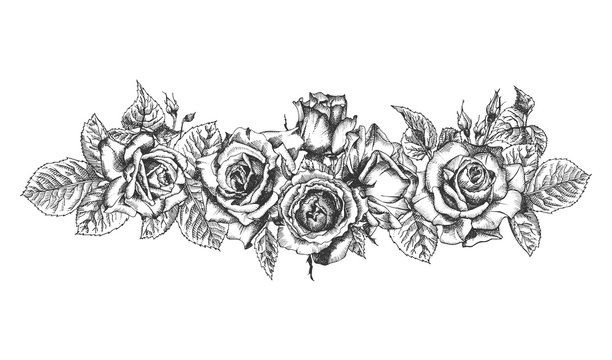 Floral frame. Hand drawn sketch of roses, leaves and branches Detailed vintage botanical illuatration.