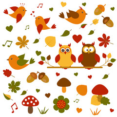 Vector set on the theme of autumn.