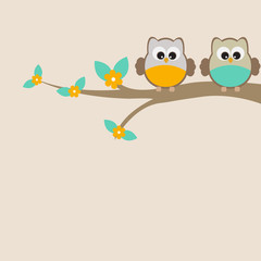 Vector greeting card on the theme of nature. Cute owls sitting on a tree.