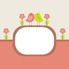 Vector postcard frame nature. Cute birds with flowers.