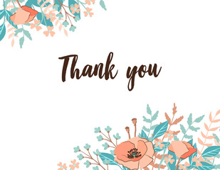 Classic and Refind Thank you card with flower frame background, hand drawn floral elements label. Vector design template, isolated. Card for wedding in trendy and fashion rust color