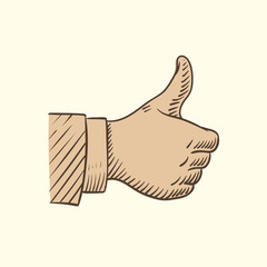 Hand showing like symbol, sketch thumbs up vector isolated on background illustration