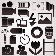 Photography vector icon set.