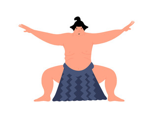 Sumo character. Sumo wrestler design. Vector illustration