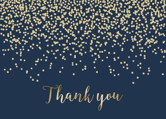 Golden Confetti Thank You Card Template