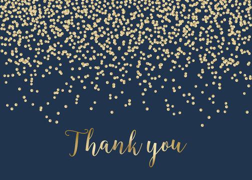 Golden Confetti Thank You Card Template