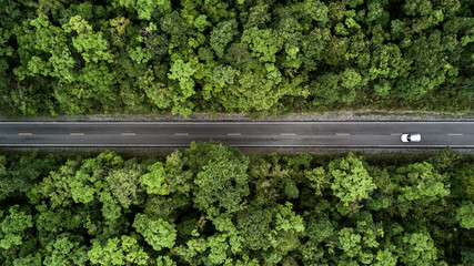 Road through the green jungle forest, Aerial view street asphalt road going through forest, Adventure and travel ecosystem and ecology healthy environment concept and background.