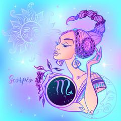 Zodiac sign Scorpio a beautiful girl. Horoscope. Astrology. Vector.