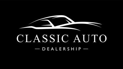 Classic retro style sports car dealership logo. Motor vehicle auto garage silhouette icon. Vector illustration.