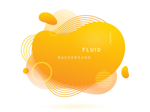 Yellow liquid blob with lines and circle. Abstract fluid spot as template for logo background. Gradient aqua blotch for modern card design. Dynamical colored circles and lines in free shape