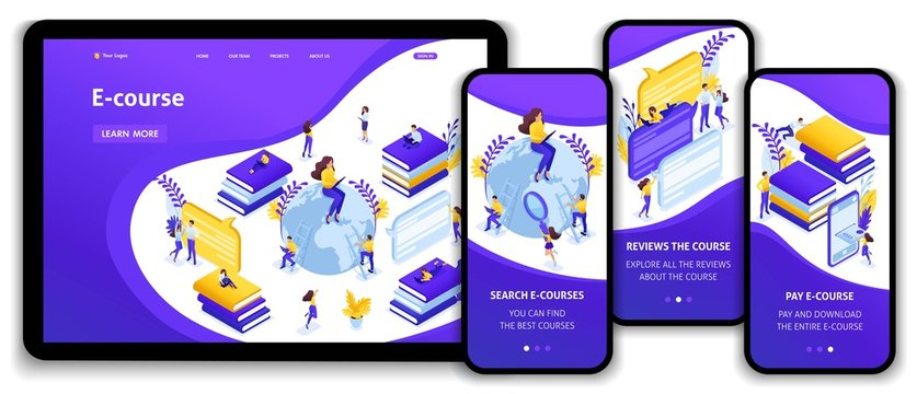 Isometric Concept for E-Learning, Education