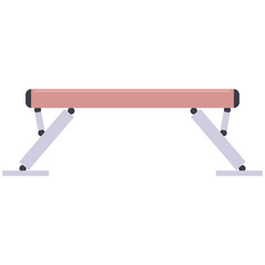 Gymnastic balance beam vector flat illustration isolated on a white background.