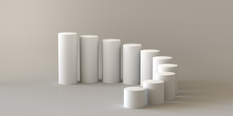 Empty steps cylinder on white background. 3D rendering.