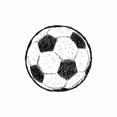 Football icon sketch or soccer drawing in doodles style. Hand-drawn in monochrome. Sport vector moments for tournament. - Vector