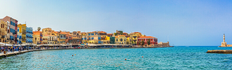Wall Mural - Panorama of the venitian habor of Chania in Crete, Grece