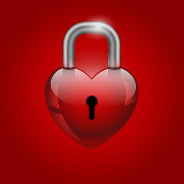 Heart lock, valentine's day icon