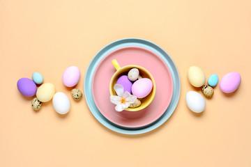 Easter dinner table setting concept