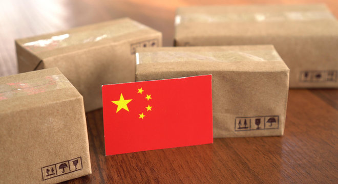 Paper box with a flag of China. Trade in goods with World