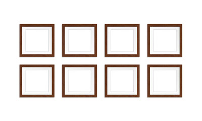 Eight photo frames collage isolated on white background, gallery style mock up, 3d illustration