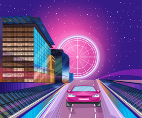 Red car night banner Vector. City road traffic jam. Flat styles
