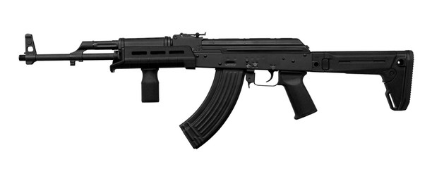 Modern automatic rifle isolated on white