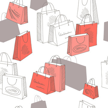 Shopping bag graphic color seamless pattern background illustration vector