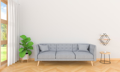 Gray sofa in living room interior, 3D rendering