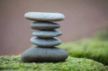 Photo sur Plexiglas Zen pierres a sable Closeup of stone balance on moss in the forest