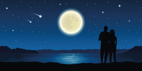 romantic night couple in love at the lake with full moon and falling stars vector illustration EPS10