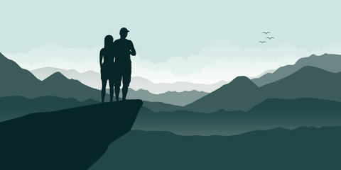 young couple on a cliff enjoy the mountain view vector illustration EPS10
