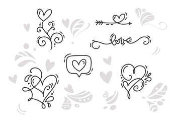 Vector monoline Valentines Day Hand Drawn elements. Happy Valentine Day. Holiday sketch doodle Design card with Heart. Isolated illustration decor for web, wedding and print