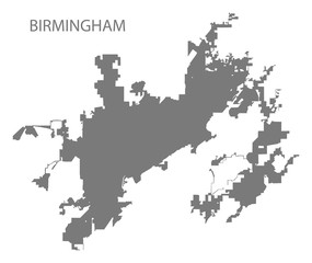 Birmingham Alabama city map grey illustration silhouette