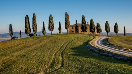 A glimpse of the countryside near Pienza, Siena, Tuscany, Italy