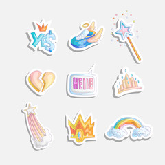 Cute girl princess icon set. Collection of cute princess stickers with sneakers, heart, tiara rainbow in clouds, magic wand. Princess and cute cartoon stickers set