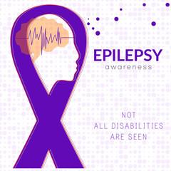 World epilepsy day. Purple ribbon. Epilepsy solidarity symbol. Vector illustration. Banner with epilepsy awareness ribbon. Lavender awareness ribbon. Medical vector illustration. Health care